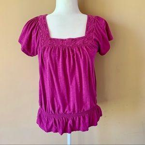 Sonoma Life + Style medium purple flower shirt